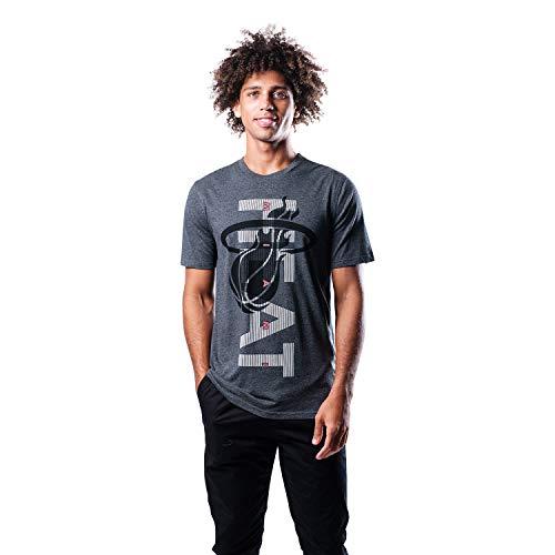 Ultra Game NBA Miami Heat Mens Upright Logo Short Sleeve Tee Shirt, Heather Charcoal, Large