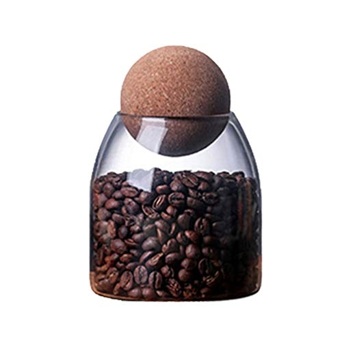 UPKOCH Canister Borosilicate Glass Jars Airtight Lid for Cookies Candy Coffee Tea Flour Sugar Rice Pasta Cereal Spice Grains with Cork 500ml