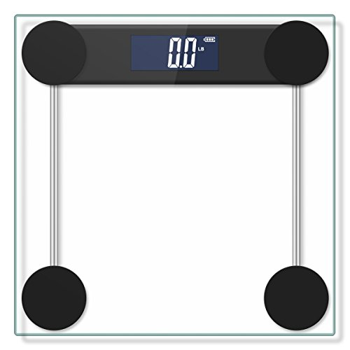 400lb / 180kg Digital Body Weight Bathroom Scale with Step-On Technology and Tempered Right Angle Glass Balance Platform