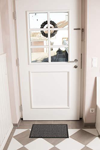 Jan Max Felpudo de Entrada, Alfombrilla Antideslizante, Alfombrilla de la Puerta de Entrada, atrapa la Suciedad en el Pasillo 40 x 60 cm, Gris Antracita Negro