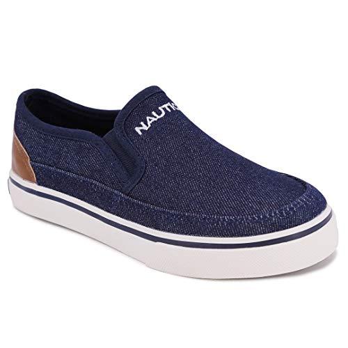 Nautica Kid's Wayde Youth Slip-On Casual Shoe Canvas Sneaker-Wayde-Dark Denim-1