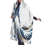 JJsister Donna Pashmina Wrap Scialli Sciarpe Women's Long Shawl Vintage London City UK Flag Big Ben Winter Warm Pashmina Scarf with Tassel