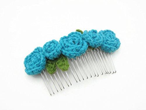 Hair Comb Slides Clip Girl Accessories Crochet Flower Roses Light Blue