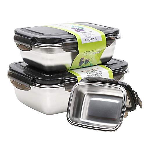 Edelstahl Vorratsdosen Frischhaltedose Lunchbox 3 Stück Lebensmittelbehälter Salat Container mit Deckel für Küche/Picknick/Büro/Bento Box Spülmaschinenfest Licht & Dicht