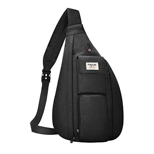 MOSISO Sling Backpack Hiking Daypack,Vertical Zipper with Pockets Crossbody Bag, Black