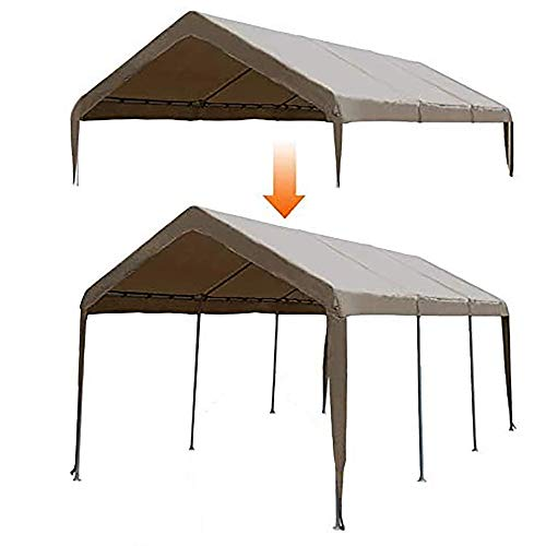 Abba Patio 10 x 20-Feet Carport Replacement Top Canopy Cover for Garage Shelter with Fabric Pole Skirts and Ball Bungees, Dark Brown (Frame Not Included)