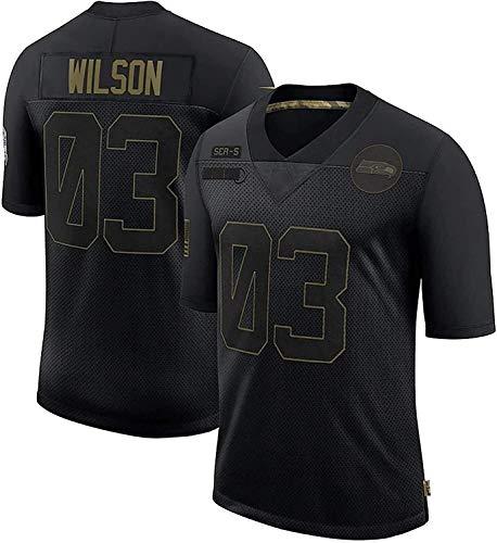 Russell Wilson Jerseys, Seahawks # 3 Jersey de fútbol Americano, versión Bordada, Camiseta 2021 Tribute Edition Edition Jersey (Color : Black, Size : L)