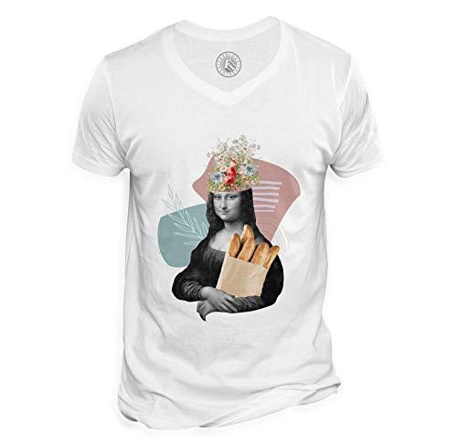 Herren T-Shirt mit V-Ausschnitt Die Mona Lisa Bäckerei Parodie Collage Kunst Surrealismus Frankreich