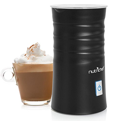 NutriChef Electric Milk Frother Warmer - Compact Stainless Steel Steaming Set w/ Automatic Power Off Safety Feature & LED Light Indicator for Easy Foamer and Hot Coffee Creamy Latte - PKFMR11BK
