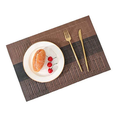 Heigmzcd middag placemats Japansk stil Bamboo Knot Gradient Färg Matchande Västra Placemat Värmeisolering Non-Slip PVC Restaurang Table Mat (Color : Brown)