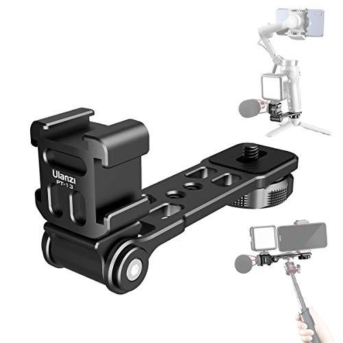Ulanzi PT-13 三つシューブラケット PT-3の マイクマウント 角度調節可能 アルミ製 カメラマクモニターに DJI OSMO Mobile 2 mobile 3 Zhiyun Smooth 4/Feiyu Vimble 2などのジンバルスタビ