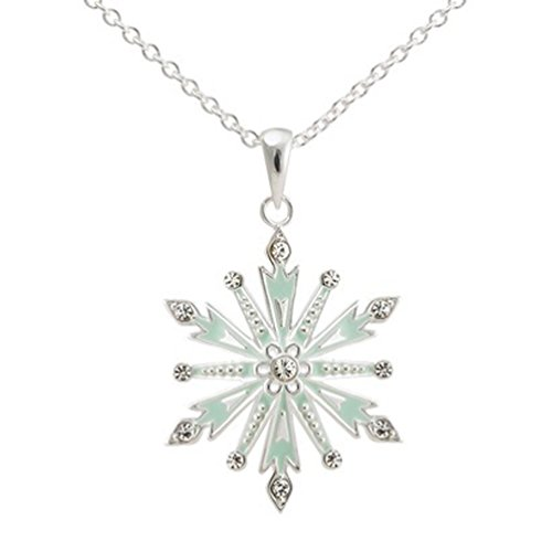 Disney Frozen Silver- Plated Snowflake Pendant with Clear Crystal Accent- Multicolor (18'), Necklace