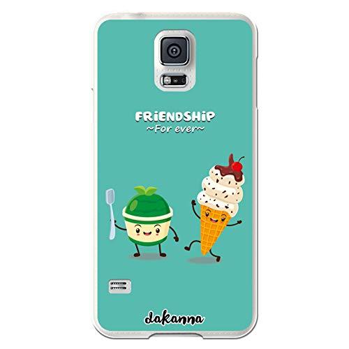 dakanna Custodia Compatibili con [Samsung Galaxy S5 - S5 Neo] Trasparente con Disegni [Amicizia del Gelato, Friends Forever] in Morbida Silicone TPU Flessibile, Shell Case Cover in Gel per Smartphone
