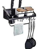 Photo Gallery liesun mensola da cucina, porta utensili da cucina, con ganci per posate, bacchette portautensili, fessure per coltelli, porta asciugamani cucina, alluminio, finitura opaca (nero,40cm)