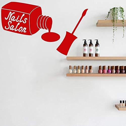 XCSJX Salón de uñas Pegatina diseño de manicura Vinilo Tatuajes de Pared Esmalte de uñas Mural Mujer decoración de la habitación Arte del hogar 43x70 cm