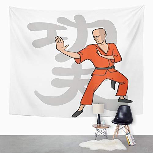 Y·JIANG Tapiz de arte marcial con signo de Kung Fu Burnt naranja pálido gris melocotón oscuro dormitorio decorativo gran tapiz de pared para sala de estar, dormitorio, 80 x 60 pulgadas