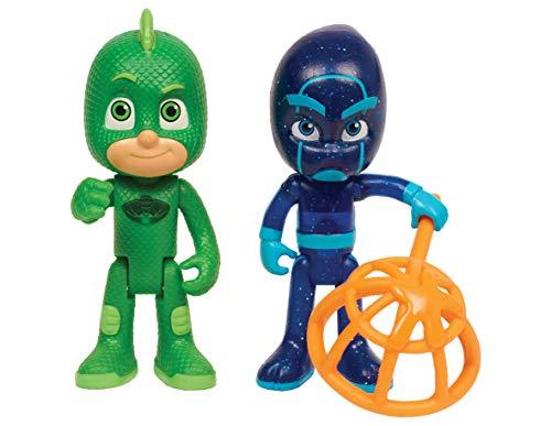 PJ Masks-24888 and Night Pack de Dos Figuras Gekko y Ninja N