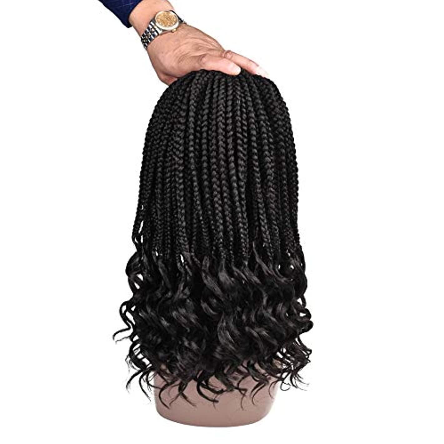 Refined Hair 6Packs 14Inch 3S Wavy Box Braids Crochet Braid Hair Extensions 22roots Ombre Kanekalon Synthetic Goddess Box Braids With Wavy Free End Crochet Braids (14inch, 2)