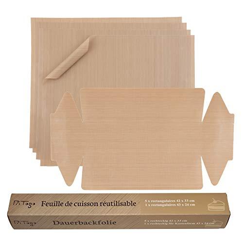 Pritogo Dauerbackfolie (6er Set) - Backpapier, Backfolie, Backunterlage, 42 x 33 cm (5er Pack – 4 x eckig, 1x Kastenform) zuschneidbar, spülmaschinenfest