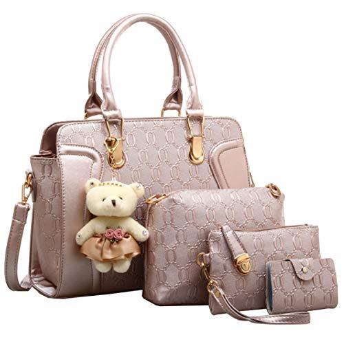 FiveloveTwoDamen 4Tlg. Handtaschen Set Umhängetasche Schultertasche Tasche PU Shopper Clutch Kartenhalter Geldbörse Tragetasche mit Bär Ornamente (Rose Gold)