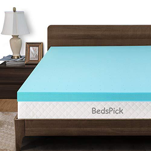 BedsPick Memory Foam Mattress Topper Twin XL 3 Inch Gel Infused Soft Foam Mattress Pad College Dorm Extra Long XL Single Bed Toppers