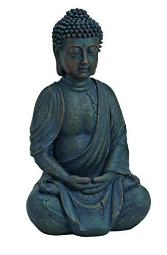 WOMA - Deko Buddha Figur Sitzend aus Wetterfestem Polyresin - 25cm hoch - Buddha Statue als Dekoration für Haus, Wohnung & Garten - Skulptur für Innen & Außen - Braun