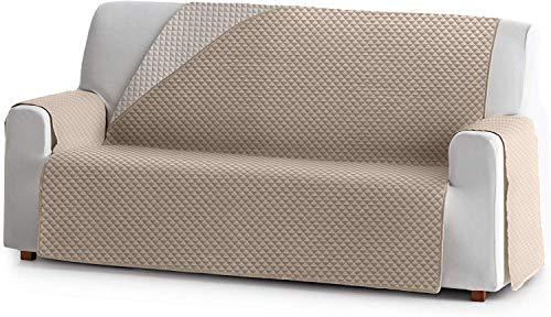 JM Textil Cubre Sofá Acolchado Reversible Elena, 3 plazas (160cm), Color: Beige 01