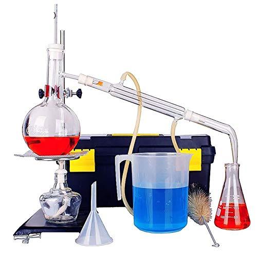 MKULOUS Chemie Destillationsgerät, Labor Ätherisches Öl Destillationsgerät Wasserfilter Destille Glaswaren Kits W/Werkzeug Fall Kondensator Rohr