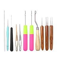 EXCEART 8ピースドレッドヘアかぎ針編みフックセットヘアエクステンションかぎ針編み織り針かぎ針編み三つ編みヘアロックツール、Diyクラフト初心者向け木製ハンドル付き