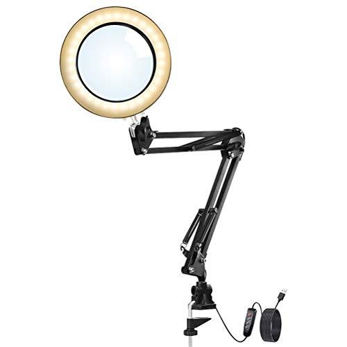 buycheapDG(JP) デスクランプ リングライト LEDルーペデスクライト 10段階調光 3種色温度 拡大鏡テーブルランプ クリップ式 折りたたみ式 卓上ライト USB給電 角度調整可能 (ブラック)