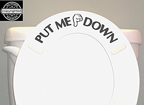 BERRYZILLA PUT ME DOWN Decal Toilet Bathroom Seat Vinyl Sticker Sign Reminder for Him (Come with glowindark Monster switchplate decal) Stickerciti Brand