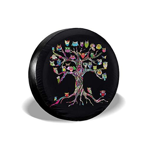 Lewiuzr Art Tree with Owl Cubierta de neumático de Repuesto Protector Solar de poliéster Cubiertas de Rueda Impermeables Ajuste Universal
