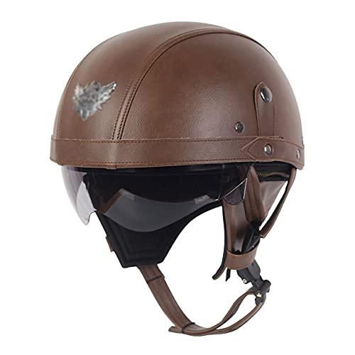 Casco de motocicleta de cara abierta, hebilla de liberación rápida aprobada por DOT/ECE para hombres y mujeres, casco de protección de verano para moto Scooter (color: B, tamaño: XL = (61 ~ 62 cm)