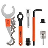 MatyKit 7Pcs Bike Tools, Has 3 in 1 Multi Bike Cassette Removal Tool with Chain Whip and Auxiliary Wrench & MTB Bracket Removal, Crank Puller Tool + 16mm Spanner, Portable Emergency Accessories Kit