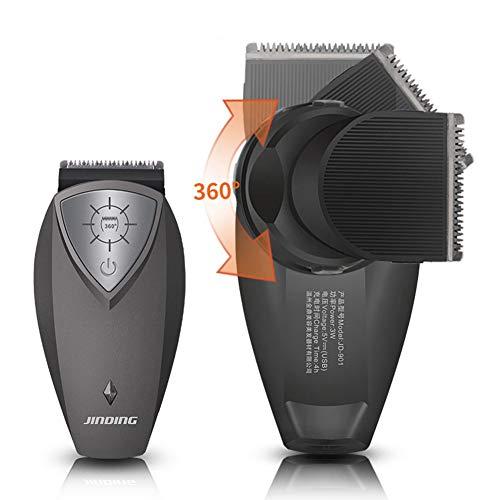Tondeuse, oplaadbaar, elektrisch, 360 graden trainbaar scheerapparaat, kop, snoerloos haren, snijden voor mannen, draagbaar zwart