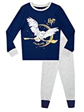 HARRY POTTER Pijamas de Manga Larga para niñas Hedwig Ajuste Ceñido Azul 9-10 Años