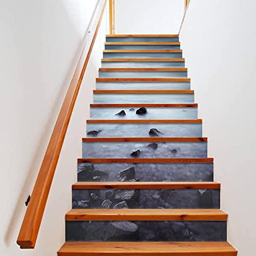 tzxdbh losetas vinilo para escaleras Azul cielo mar piedras 100CMx18CMx13pieces(39.3'w x 7'h x 13pieces) Escaleras Cocina Piso Baño Simulación Decoración de Pared Hogar Impermeable Extraíble Etiqueta