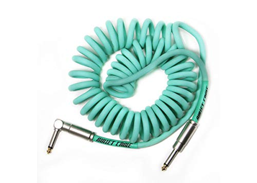 Bullet Cable BC-15CCSEA Spiralkabel, gerade/abgewinkelt, 4,6 m, Seafoam Green