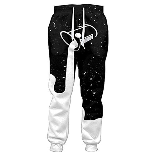 DE-pants-personality Hose Frauen Männer Gießen in Sternenhimmel zum Auffüllen der Galaxie Glas Milch 3D gedruckte Jogginghose Freizeithose M