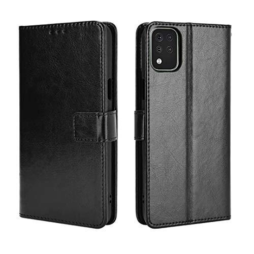 JIAFEI Hülle für LG K52, Premium PU Leder Schlichtes Edles Flip Wallet Hülle Cover Handyhülle, Schwarz