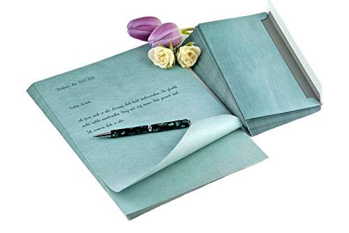 Garsihome edles Briefpapier mit Umschlägen grün blau, hochwertiges Bastelpapier für Geburtstag, Hochzeit und Einladung (smaragdgrün, Set 30 Briefbögen & 30 Umschläge)