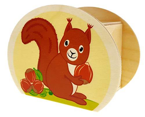 Hess Holzspielzeug 15215 - Spardose aus Holz mit Schlüssel, Eichhörnchen, Geschenk für Kinder zum Geburtstag, ca. 11,5 x 8,5 x 6,5 cm