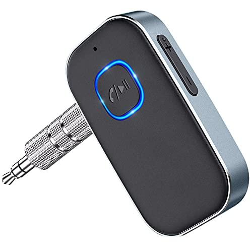 Cocoda Receptor Bluetooth Coche, Adaptador AUX Bluetooth 5.0 Jack con 3.5mm Cable y Cancelación de Ruido, 16Hrs Enlace Dual Receptor Bluetooth Audio para Llamadas Manos Libres o Estéreo Doméstico