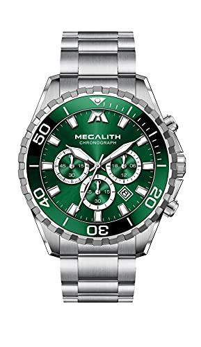 MEGALITH Reloj Hombre Grande Cronografo Acero Inoxidable Plata Reloj de Pulsera Analógico Impermeable Relojes Luminoso Calendario Elegante Regalo para Hombres
