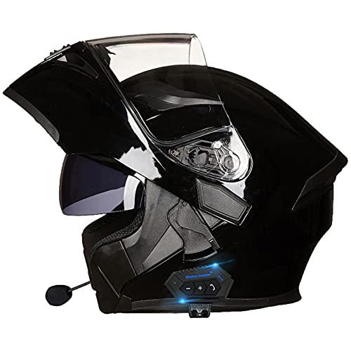 Casco de Moto Modular Bluetooth Integrado con Doble Anti Niebla Visera Cascos de Motocicleta ECE Homologado a Prueba de Viento para Adultos Hombres Mujeres Abatible Casco G,XL