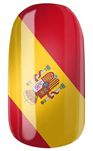 VENGANAILS Nagelfolie - Spaanse vlag 2, spinvlag, High Performance Nail Wraps, nationale kleuren, fanartikel voor vrouwelijke voetbalfans, zelfklevend, geen import uit Azië