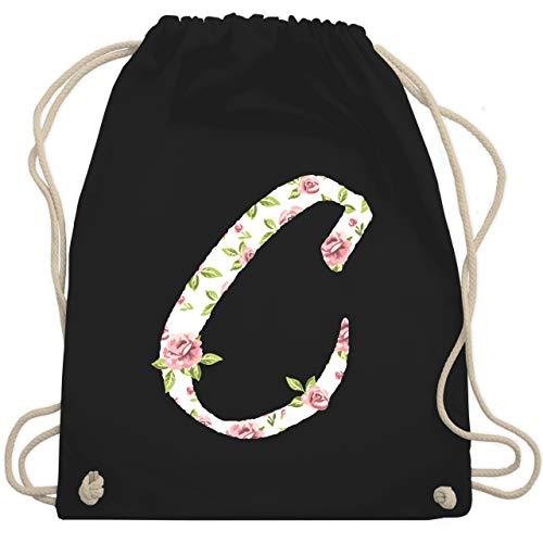 Shirtracer Anfangsbuchstaben - C Rosen - Unisize - Schwarz - turnbeutel anfangsbuchstaben c - WM110 - Turnbeutel und Stoffbeutel aus Baumwolle