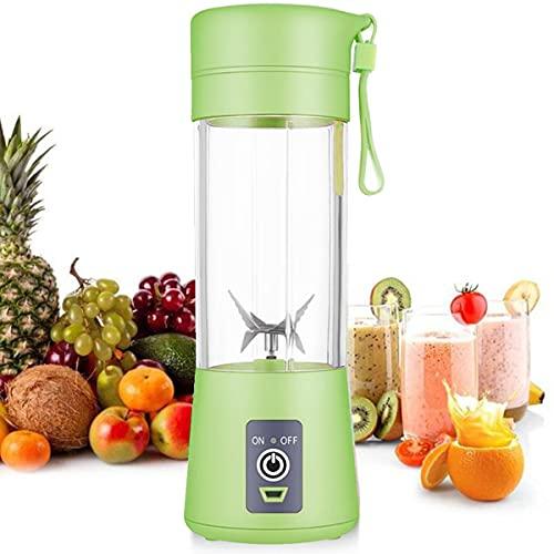 Licuadora personal [versión actualizada], vaso exprimidor portátil/mezclador de frutas eléctrico/batidora de zumo USB, recargable, seis cuchillas en 3D para una excelente mezcla, 380 ml verde