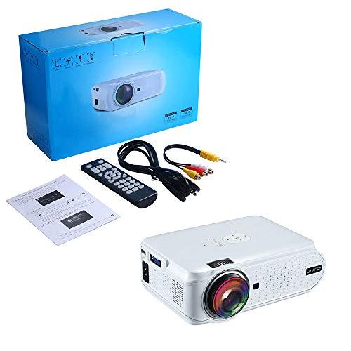 DjfLight Mini-projector, draagbare TFT-LCD-projector voor tv-box/X-box/U-disk, TV-zak-beamer-cadeau, Full HD 1080P, AV, USB, TF, 20.000 uur levensduur