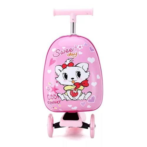 Lindo dibujos animados niños scooter maleta en ruedas Lazy trolley bolsa niños llevar en la cabina viaje rodando equipaje Skateboard bolsa regalo (1)